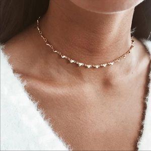 Dainty Silver Heart Choker Necklace